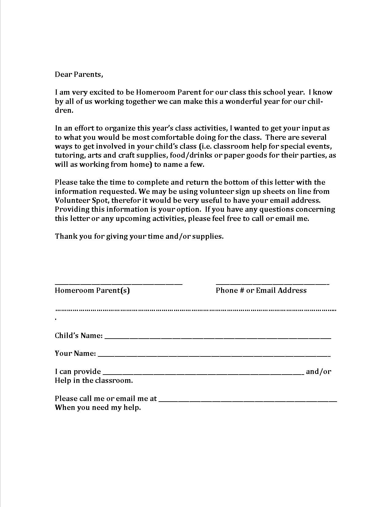 parents letter template