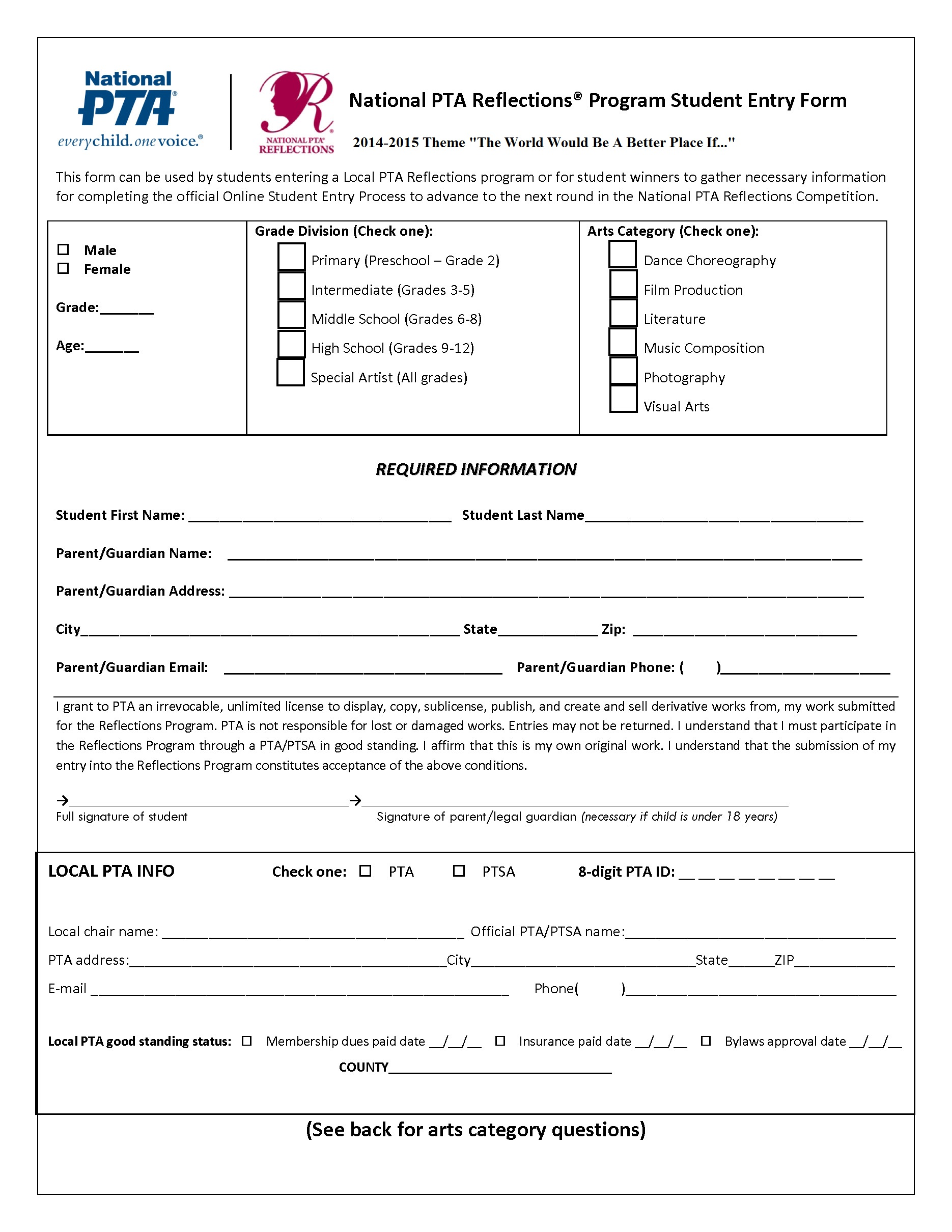 2014 15 entry form for Pta membership card template