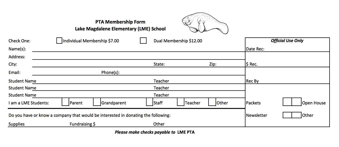 Pta t shirt order form for Pta membership card template